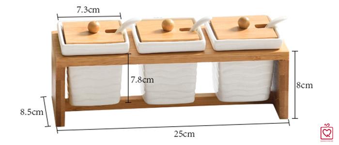 Bộ 3 hũ vuông đựng gia vị giá gỗ