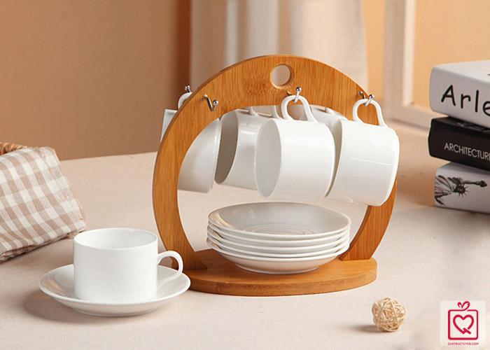 Bộ 6 chén đĩa giá gỗ treo vòng cung