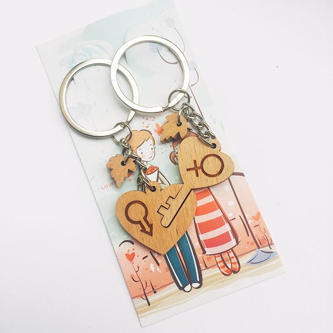 móc khóa cặp đôi chìa khóa trái tim