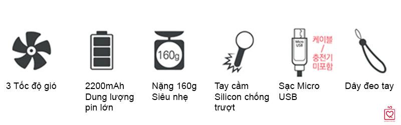 quạt mini tích điện cầm tay