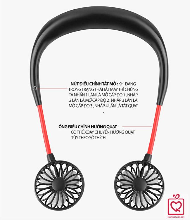 Quạt đeo cổ chữ U sạc USB
