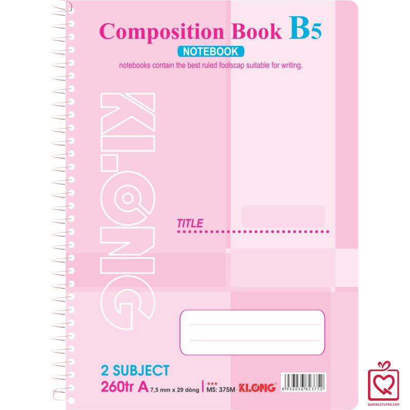Sổ lò xo đơn 260 trang B5 Compostion Book KLong
