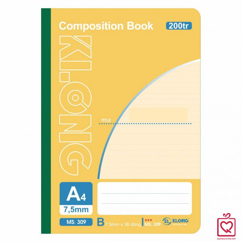 Sổ may dán gáy 200 trang A4 Compostion Book KLong