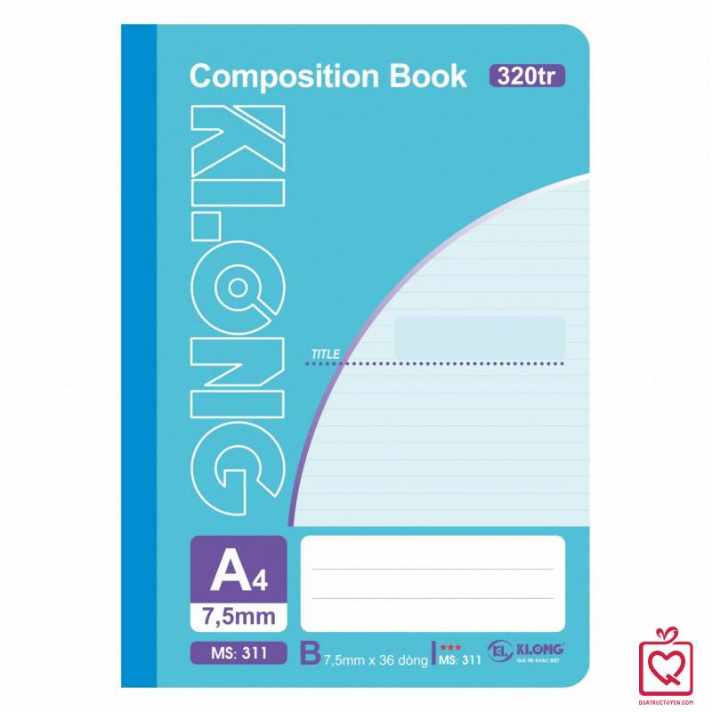 Sổ may dán gáy 320 trang A4 Compostion Book KLong