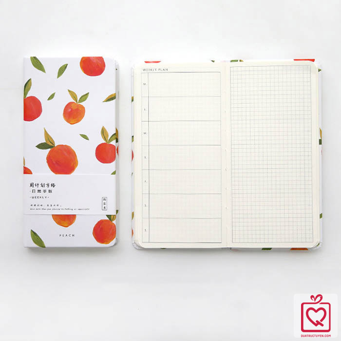 Sổ tay bìa cứng hoạ tiết hoa quả kiểu Nhật Bản