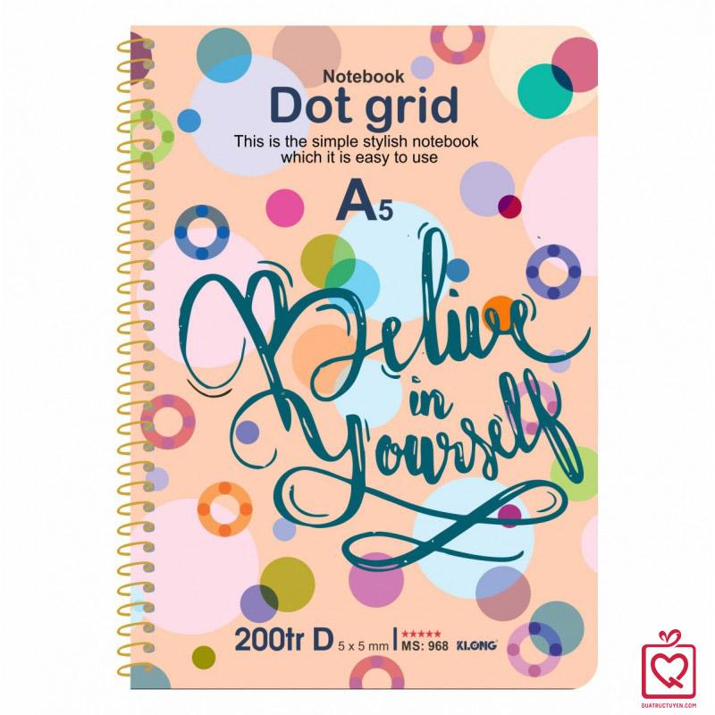 Sổ tay Dot Grid lò xo đơn thông điệp Tiếng Anh