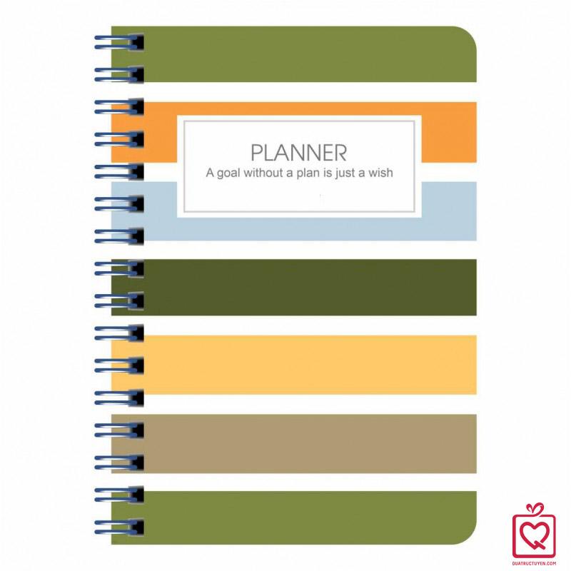Sổ tay lò xo kép sọc ngang Planner A5-200