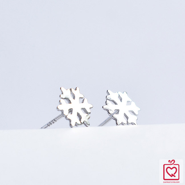 Bông tai bạc hoa tuyết