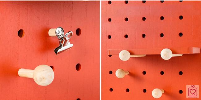 Bảng Pegboard treo tường bằng gỗ hình chữ nhật