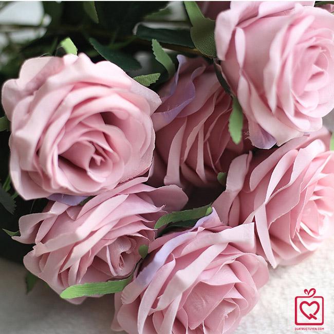 Cành hồng lụa 10 bông