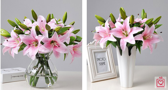 Cành hoa ly 2 bông 1 nụ