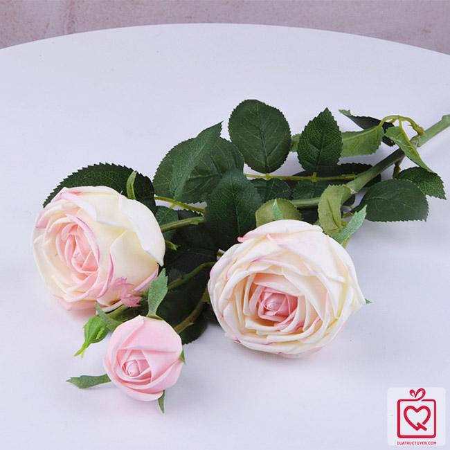 cành hồng lụa 3 bông