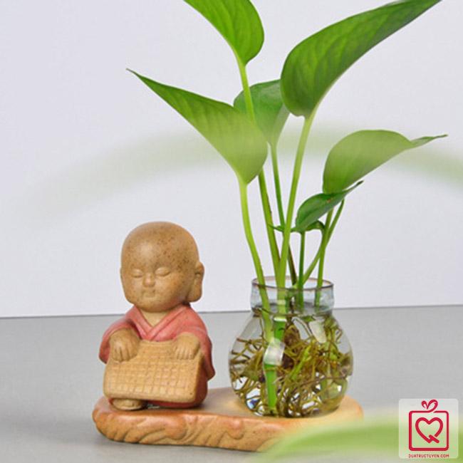 Bộ tượng cầm kì thi họa mini kèm lọ hoa