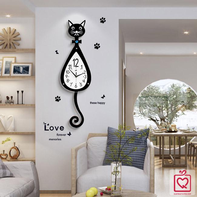 đồng hồ mèo đuôi dài quả lắc