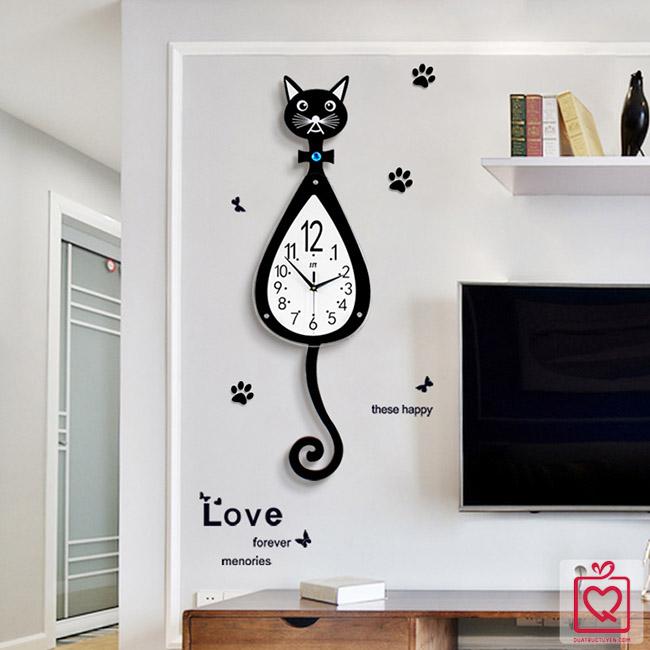 Đồng hồ treo tường mèo đuôi dài