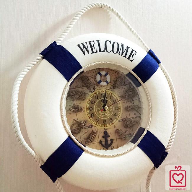 Đồng hồ phong cách coastal biển phao cứu sinh