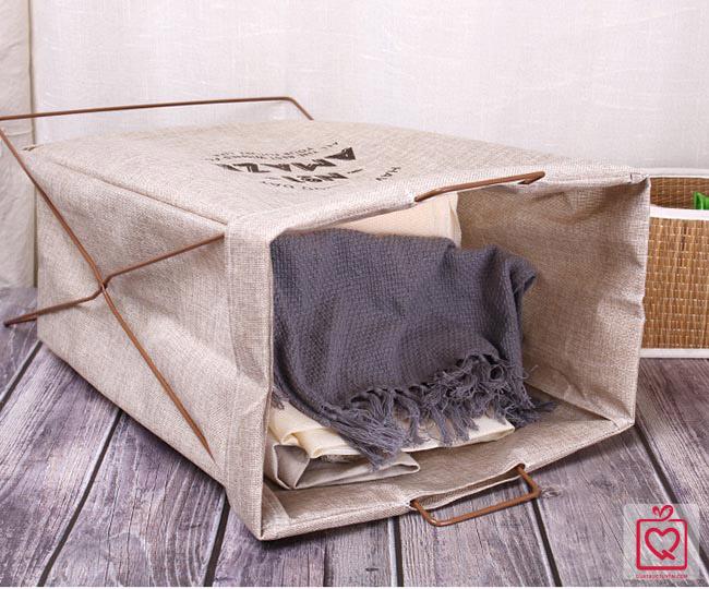 giỏ đựng đồ bằng vải canvas khung sắt