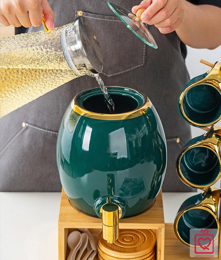 Bộ bình rót nước kèm 6 cốc xanh ngọc bích