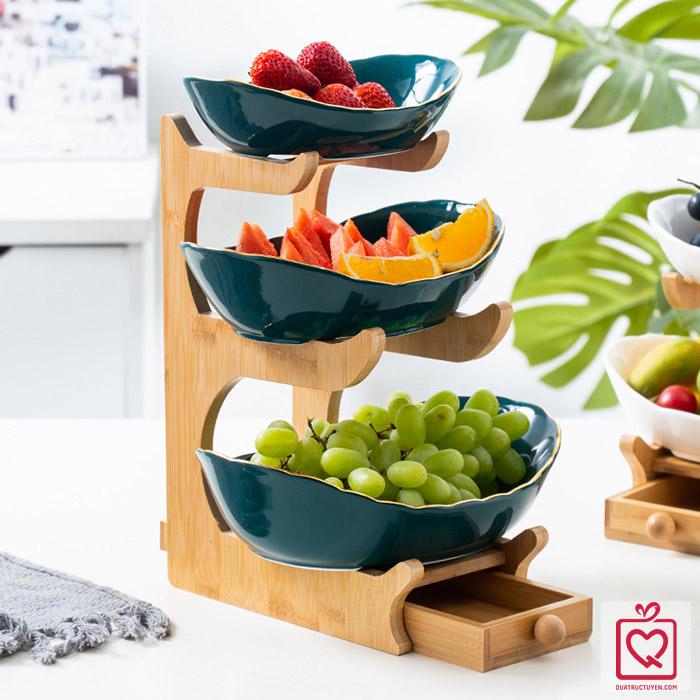 Bộ đĩa sứ giá gỗ đựng bánh mứt hoa quả có ngăn kéo - xanh viền vàng