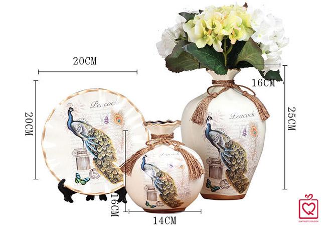 Bộ lục bình tranh đĩa chim khổng tước