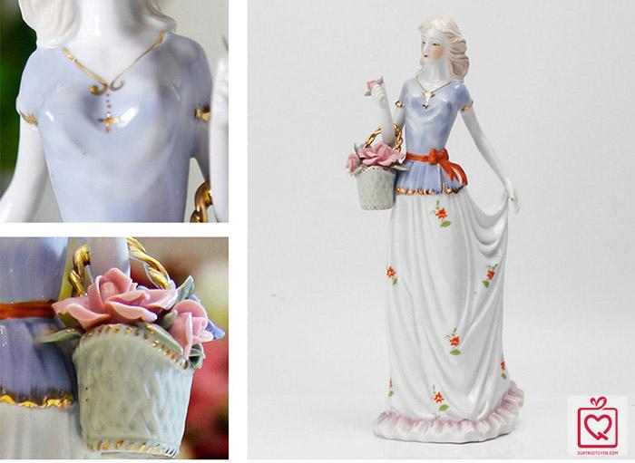 Tượng gốm sứ nghệ thuật - Thiếu nữ Châu Âu