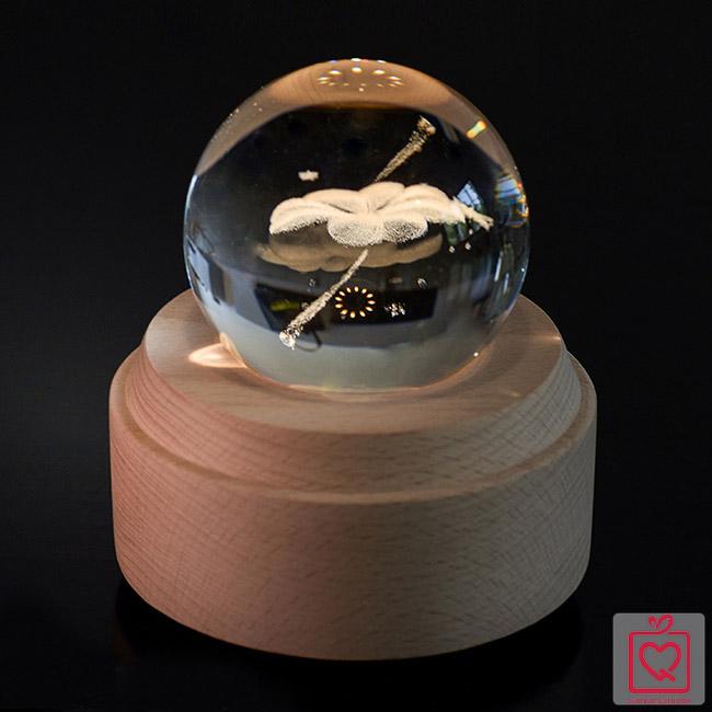 quả cầu pha lê 3D cỏ 4 lá
