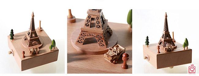 Hộp nhạc gỗ tháp eiffel