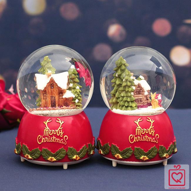 Hộp nhac quả cầu tuyết giáng sinh ngôi nhà tuyết