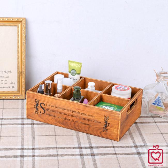 Hộp gỗ vintage 6 ngăn