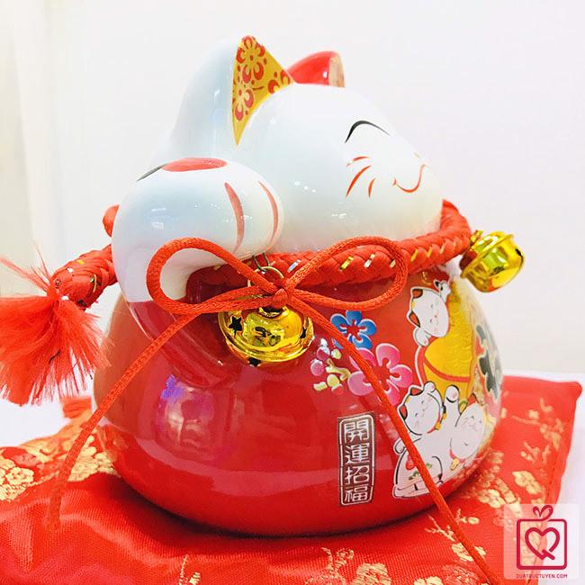 Mèo thần tài đỏ-Ngũ phúc lâm môn-70184-15cm
