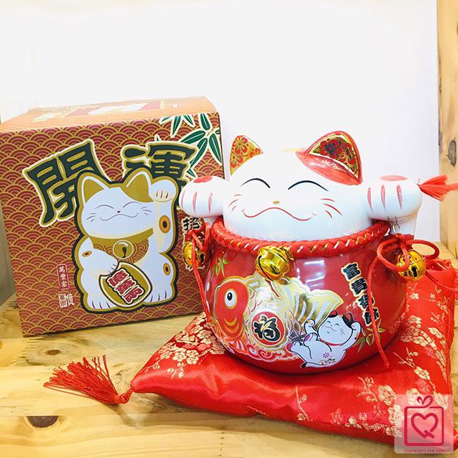 Mèo thần tài đỏ-Phú quý hữu dư 70183-15cm