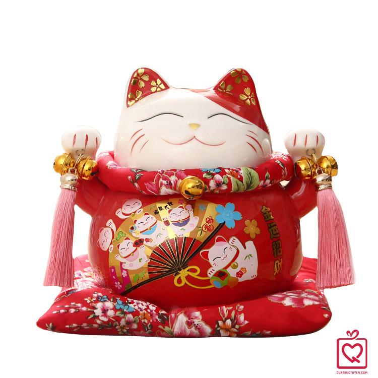 Mèo thần tài đỏ Kim Vận Chiêu Tài