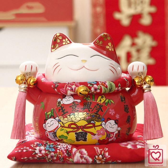 Mèo thần tài đỏ Phát Đạt Bội Thu