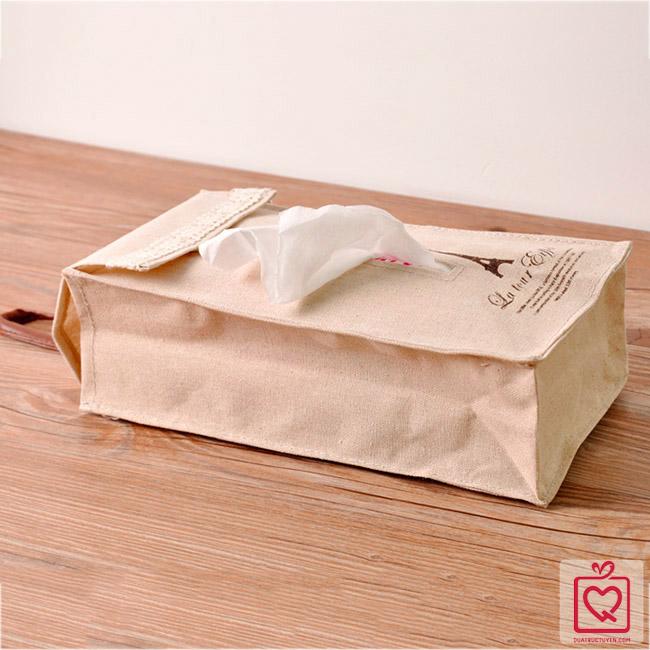 túi vải đựng khăn giấy có giây treo