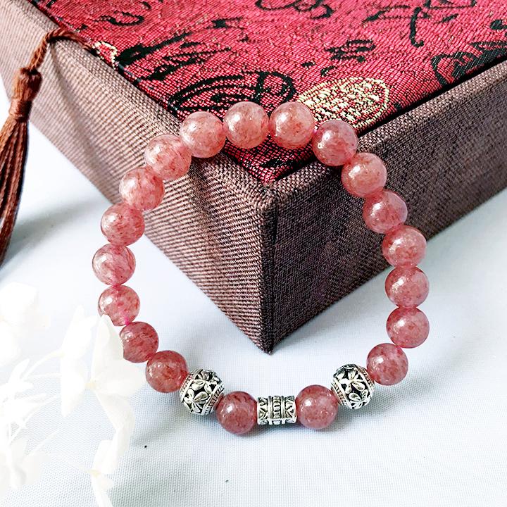 vòng tay đá thạch anh dâu tây hồng